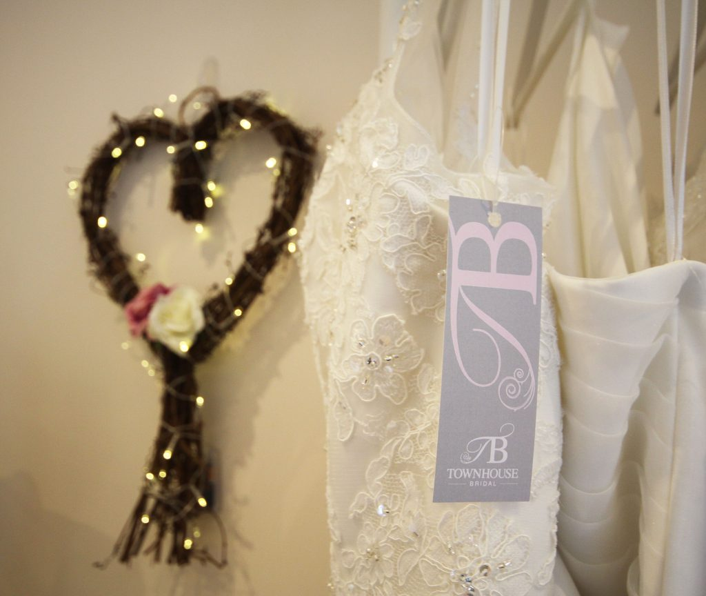 Townhouse Bridal label and wicker heart with lights
