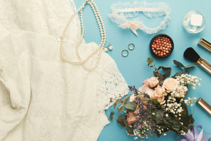 Wedding dress with accessories and make up