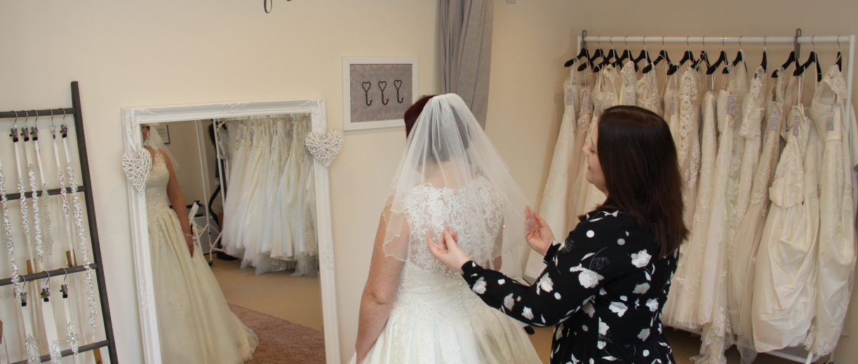 Wedding veil in bridal shop